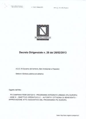 Regione Campania. Decreto Dirigenziale N.26 del 26/02/2013
