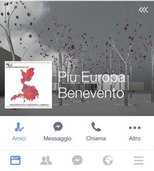 Attivo il profilo Facebook PIU Europa Benevento